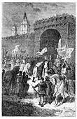 The farewell of St. Louis and Blanche of Castile, vintage engraving.