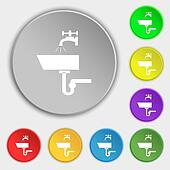 Washbasin icon sign. Symbols on eight flat buttons.