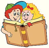 School boy and girl reading book