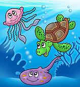 Various marine animals in sea