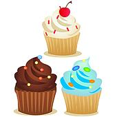 vector cup cake set