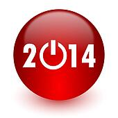 year 2014 red computer icon on white background