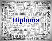 Diploma Word Represents Master's Degree And Text