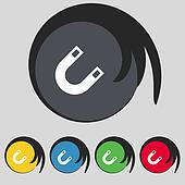 magnet, horseshoe icon sign. Symbol on five colored buttons.
