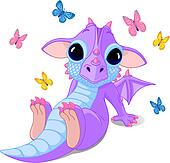 Cute sitting baby dragon
