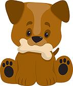 Puppy Big Paws Sitting