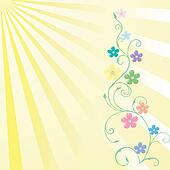 Spring greeting card with flowers in pastel tones