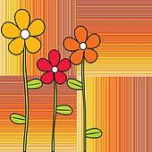 Retro flowers on stripes background