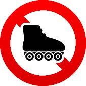 No Roller skates sign icon. Rollerblades symbol.