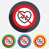 Not overwork. Heartbeat sign icon. Cardiogram.