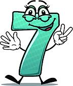 Happy number 7 making a victory sign