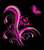 Abstract flower pattern with butterfly