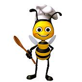 Bee chef with food spoon