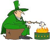 Leprechaun roasting a marshmallow