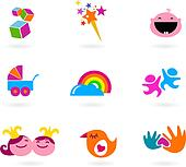 Kids and baby icons and logos