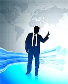 Young business man holding middle finger on world map background