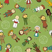 Kids in traditional costumes, seamless pattern