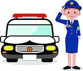 Policewoman and a police car