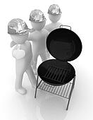 3d mans in a hard hat with thumb up and barbecue grill