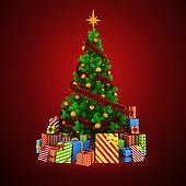 3d Christmas tree with colorful ornaments and present boxes