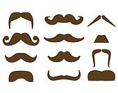 Mustaches isolated over white background