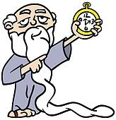 Father Time pointing at watch