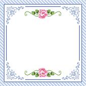 Vector vintage roses in blue