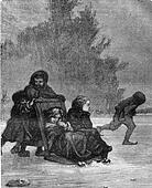 The sled, vintage engraving.