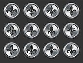Fleur De Lys Icons on Metal Internet Buttons