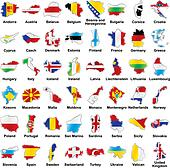 european flags in map shape with details