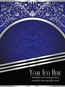 Royal Blue Background with Ornate Silver Leaf
