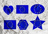 Love EU flag European union flag sign heart symbol on Cement wal