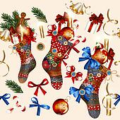 Christmas seamless wallpaper pattern with socks, baubles, bells