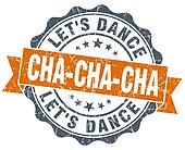 cha-cha-cha vintage orange seal isolated on white