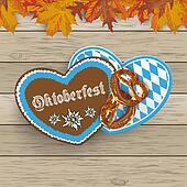Bavarian Oktoberfest Hearts Foliage Wood