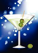 martini glass with olives abstract internet background