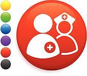 nurse and dcotr icon on round internet button