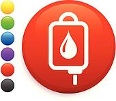 Intravenous therapy icon on round internet button