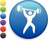 weightlifter icon on round internet button