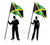 Business silhouettes with waving flag of Jamaica