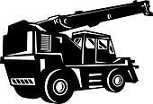 rough terrain crane done in black and white