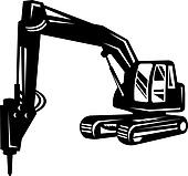 mechanical digger or excavator isolated on white background