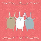Three Dancing Rabbits on a Pink Background