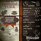 Cafe or coffee house design on wooden texture with price list