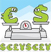 Currency battles vector