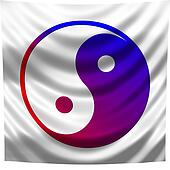 flag with a ying - yang sign