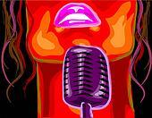 lady behind a karaoke