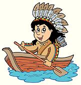 Indian in wooden boat