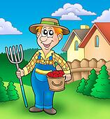 Cartoon farmer on garden