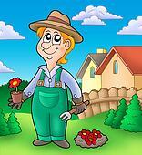 Gardener planting red flowers